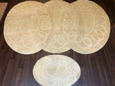 ROMANY WASHABLES OVAL DESIGNS SETS OF 4 MATS XLARGE SIZE 100X140CM LIGHT BEIGES